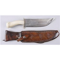 Custom Ray Elliott Bowie KnifeOne of a kind with a Mule Deer handle and a  Ray Elliott hand tooled l