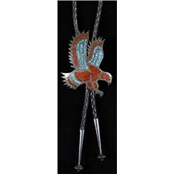 Zuni Men's Bolo Tie with Eagle DesignInlaid red coral and turquoise, unsigned, set  in sterling silv