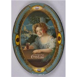 "Original Tin Advertising Tray - Drink Coca-Cola6 1/8"" across, of maiden drinking a coke. In  overall"
