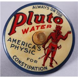 "Original Tin Advertiser - Pluto Water DevilAmerica's Physic For Constipation, small top  1 1/2"", in"