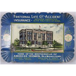 "Original Tin Advertising Change Tray - Insurance5"" across from Fraternal Life Insurance,  William Ko"