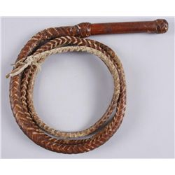 Old Braided Leather Bull Whip - Great Decorator
