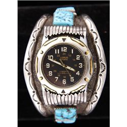 Men's Native American Watch BandSet with 6 square cut turquoise cabs set in  3.93 oz of beautiful st