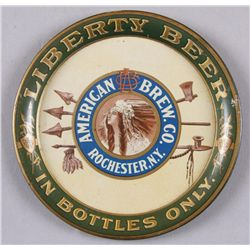 """Original Tin Advertiser - Liberty Beer""""American Brew Co.,Rochester, NY"""", in bottles  only, depicting"""