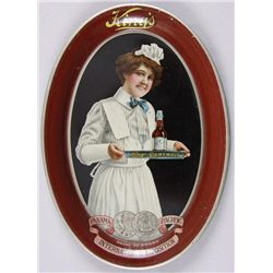"""Original Tin Advertiser - King's Panama PacificServer, 6"""" oval , depicting a waitress. In  overall n"""