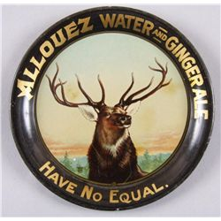 Original Tin Advertising Tray - Allouez WaterAllouez Water and Ginger Ale, change tray  depicting a