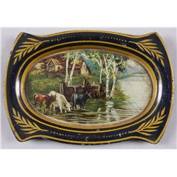 """Original Tin Advertising Tip Tray - Mascot Tobacco5"""" across, showing cows and farm house by  stream."""