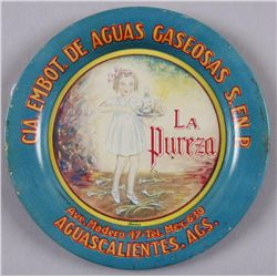 """Original Tin Advertising Tray - La Puerza Alcohol4"""" round. In overall From the Peter Stein  Estate F"""