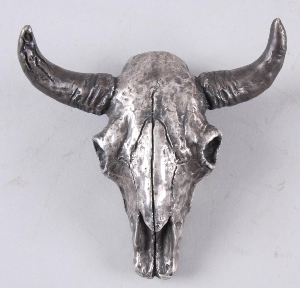 fine art piece of a bull skull 4 40 by r macl coin silver over