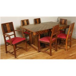 Art Deco Dinning Table and ChairsArt Deco Dinning Table with 5 Chairs and one  Captains Chair measur