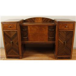 "Art Deco BuffetArt Deco Buffet with nice inlayed wood  measures 66""x37""x21 with four drawers and two"