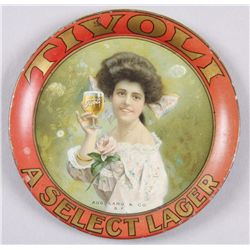 "Original Tin Advertiser - Tivoli Lager""A Select Lager"", depicting a maiden holding  a glass of Tivol"