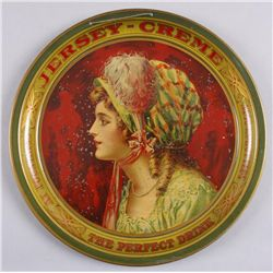 "Original Tin Advertising Tray - Jersey CremeJersey Creme Co. ""The Perfect Drink."" Depicts  a maiden"