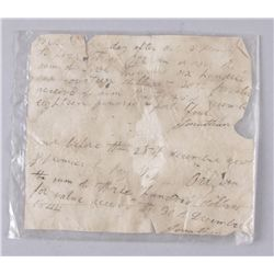 Fascinating Letter dated Dec 30, 1844Letter shows a promise from Jonathan to pay a  debt of $5,600.0