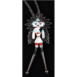 Men's Kachina Bolo TieInlaid turquoise, coral, and spiny oyster,  set in silver plate.