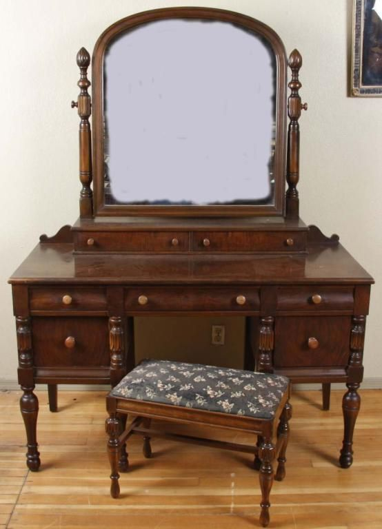 Image 1 Antique Burl Walnut Vanity With Seat 7 Drawersupper Gallery Rotating Mirror