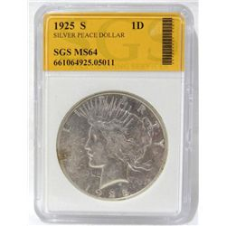 1925-S Peace Silver Dollar SGS MS64