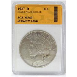 1927-D Silver Peace Dollar SGS MS60