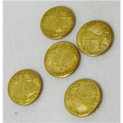 Lot-5 22k Gold plated Mini St Gaudens Design Coins