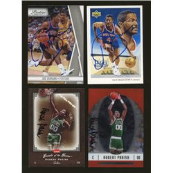 Lot of (4) Signed Basketball Cards: Robert Parish & Joe Dumars (GA)