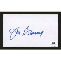 Lot of (2) Signed Jim Bunning Items: Baseball Card & Index Card (GA)