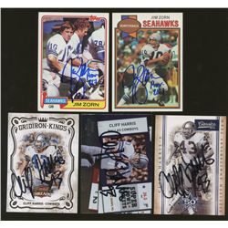 Lot of (5) Signed Football Cards: Jim Zorn & Cliff Harris (GA)