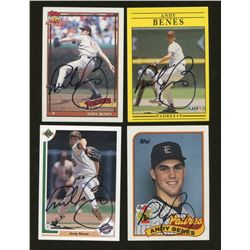 Lot of (4) Andy Benes Signed Padres Baseball Cards (GA)