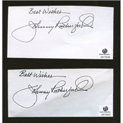 "Lot of (2) Johnny Rutherford Signed 3x5 Index Cards: Inscribed ""Best Wishes"" (GA)"