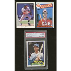 Lot of (3) Baseball RC Cards: Sammy Sosa, Mark McGwire, Ken Griffey Jr. (PSA 9)