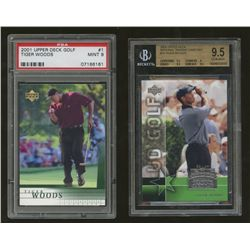Lot of (2) Graded Tiger Woods Golf Cards