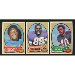 Lot of (3) 1970 Topps Football Cards: Gale Sayers, Alan Page & Bubba Smith
