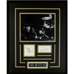 "Jackie Gleason & Paul Newman 16x20 Custom Display with Signed Cut Copy: ""The Hustler"""