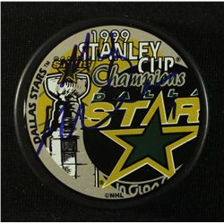 Mike Modano Signed Stars 1999 Stanley Cup Puck (JSA COA)
