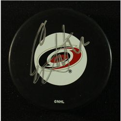 Eric Staal Signed Hurricanes Logo Puck (JSA COA)