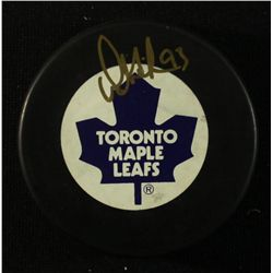 Doug Gilmour Signed Maple Leafs Logo Puck (JSA COA)