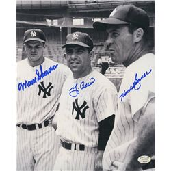 Yogi Berra, Hank Bauer & Moose Skowron Signed Yankees 8x10 Photo (SOP COA)