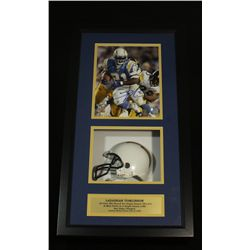 LaDainian Tomlinson Signed 8x10 Photo: 14x26 Shadow Box With Mini Helmet (Tomlinson Hologram)