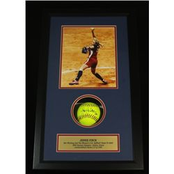 Jennie Finch Signed Softball: Custom 14x24 Shadow Box With 8x10 Photo (SOP COA)