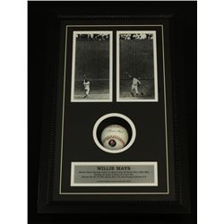 Willie Mays Signed Baseball: Custom 14x22 Shadow Box With Giants Photos (Mays Hologram)