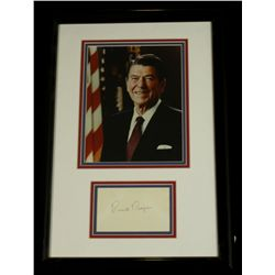 Ronald Reagan Signed Custom Framed 14x22 Display (JSA LOA)