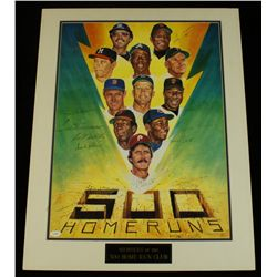500 HR Club 21x27 Custom Matted Photo Signed by (11): Mantle, Mays, Williams, Aaron (JSA LOA)