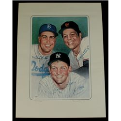 Mickey Mantle, Willie Mays & Duke Snider Signed 17x24 LE Lithograph (JSA LOA)
