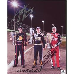 Tony Stewart, Austin Dillon & Ricky Stenhouse Jr. Signed 8x10 Photo (GA COA)
