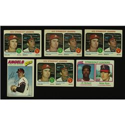 Lot of (6) Vintage Baseball Cards Including (4x) 1973 Topps #67 Strikeout Leaders With Steve Carlton