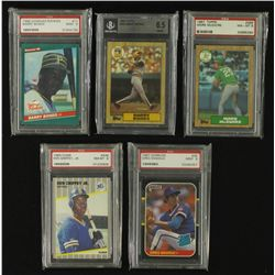 Lot of (5) Graded Baseball RC's Including (2x) Bonds,  McGwire, Maddux and Griffey Jr.