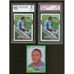 Lot of (3) Barry Sanders RC's Including (2x) Graded 1989 Topps Traded & (1) 1989 Score