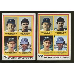 Lot of (2) 1978 Topps #707 Rookie Shortstops Klutts, Molitor, Trammell & Washington