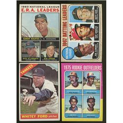 Lot of (4) Vintage 1960s & 1970s Baseball Cards With Koufax, Ford, Rice, Clemente