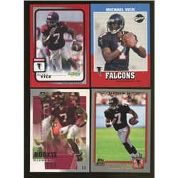 Lot of (4) Michael Vick RCs Including Topps, Vintage, Score & MVP