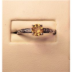 Stiking Ladies Citrine & Diamond Ring